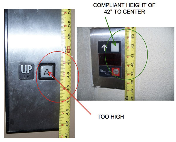 "COMPLIANT HEIGHT OF 42"" TO CENTER, TOO HIGH"