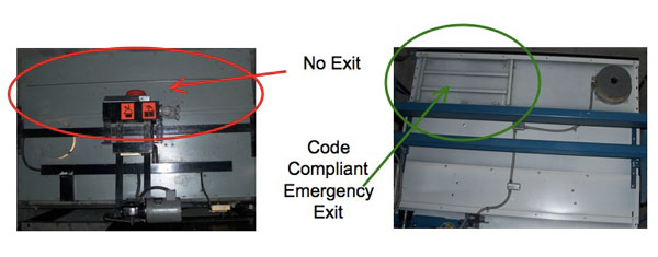 No Exit Code, Compliant Emergency Exit